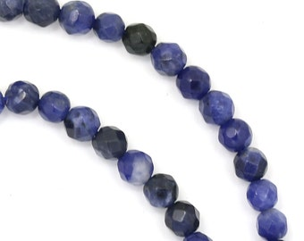 Sodalite (More Blue) Beads - 4mm Faceted Round - Limited Quantity