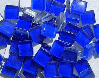 Blue Glass Tiles - 1 cm - Crystal Mosaic Tiles - Set of 100 - Use for Mosaic Jewelry - Light Cobalt Blue Mosaic Tiles