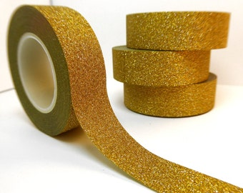 Glitter Washi Tape in Gold -  Paper Tape Great for Scrapbooking Paper Crafts and Holiday Decorations 1 roll 15mm x 10m