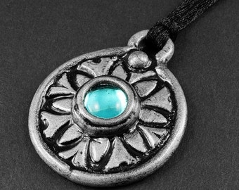 Summer Sale - 10% off - Aqua Blue Glass and Silver Polymer Clay Necklace