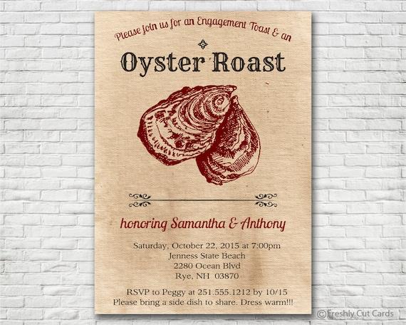 Oyster Roast Invitation Printable Or Printed W Free Envelopes