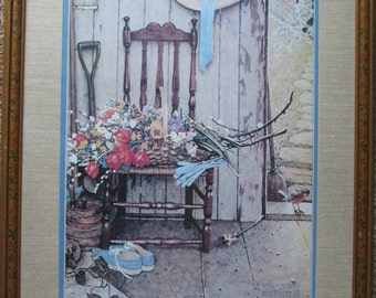 Norman Rockwell Spring Flowers Print, Original Frame and Matting,