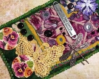 Spring Garden, Bead Embroidery Felted Bracelet Cuff, Renaissance Fairy Music Dance Festival Wear, Boho Gypsy Quote Goddess Bracelet
