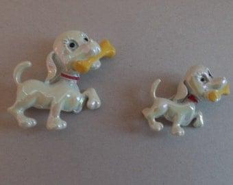 Vintage enamelware Puppy with bone Pin Set