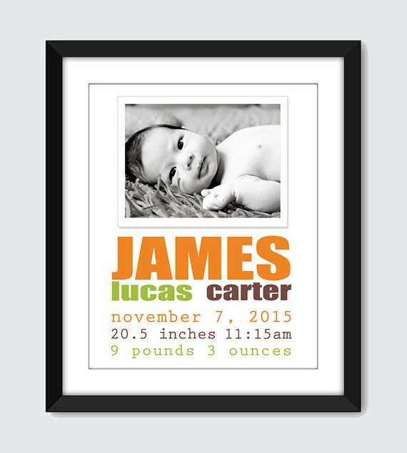 Photo Birth Announcement Wall Art. Modern Birth Announcement. 8x10, 5x7 Baby, Nursery, Children Wall Print Poster by mateoandtobias on Etsy