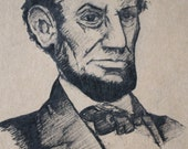 Abraham Lincoln Moleskine Hand Illustrated Large Ruled Cahier / Notebook / Journal