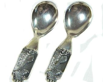 Two Tiny Norwegian Silver Salt Spoons Viking Ship