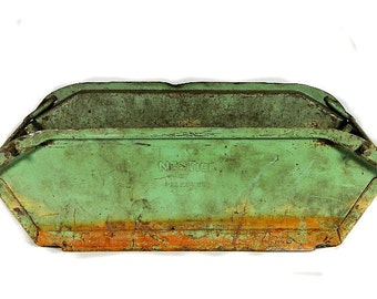 NesTier Rusty Industrial Green Metal Stacking Bin