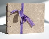 Plant Paper Journal (Daylily) with Purple Coptic Stitch Binding, Letterpress Endsheets, Recycled Pages-Blank Hand-Sewn Notebook, item 106.04
