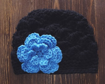 Girls Hat, Black and Blue Girl Hat, Newborn Girl Hat, Crochet Baby Hat, Crochet Girls Hat, Baby Girl Hat, Baby Hat for Girls