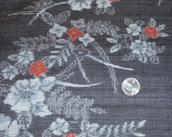 "Beautiful Vintage Asian Silk Fabric Yardage Floral Design on Light Black 14 3/4"" x 1 Yard, 3 Yards Available"