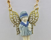 Handmade Little Angel  Necklace  Art Necklace Hand  Assembled From Vintage Parts with A 22 inch chain Magnetic Catch