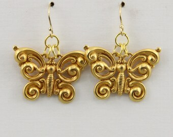 Hand Made Russian Gold Plated Butterfly Earrings 1 inch long Oscarcrow Vintage Style Butterfly