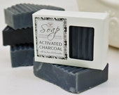 ACTIVATED CHARCOAL SOAP - Tea Tree Oil, Lavender & Lemon Essential Oil, facial, detox, acne cleanser, glycerin