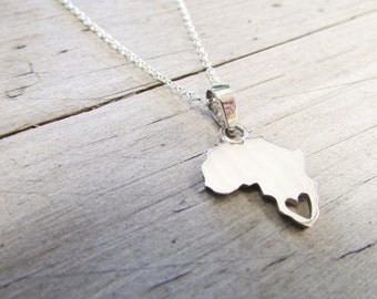 Sterling silver Africa necklace with heart over South Africa or any other area you choose South Africa necklace
