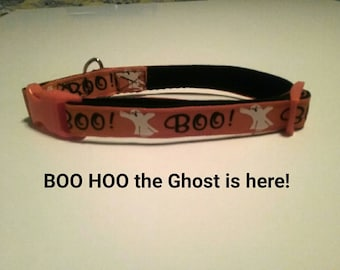 "Halloween Dog Collar  ""BOO HOO the Ghost is here!"" Pretty orange collar with white ghosts for Extra small through Medium size dog collars"