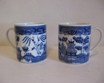 Two Blue and White Mugs Cups Blue Willow Pagoda