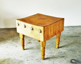 Last Payment RESERVED for Walutawi Early 20th Century Antique Vintage American Butcher Block Table Industrial Primitive
