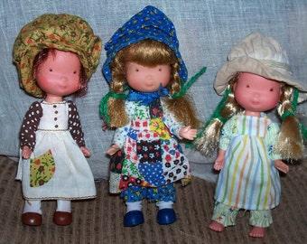 "Lot of 3 Holly Hollie Hobbie Hobby & Friends Amy Heather Vinyl Doll  6"" Tall"