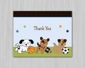 Bow Wow Sports Buddies Printable Baby Shower Thank You Card  U Print yourself