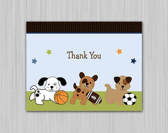 Bow Wow Sports Buddies Printable Baby Shower Thank You Card  U Print yourself