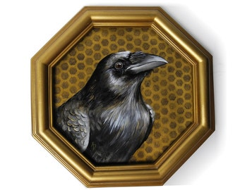 Raven painting framed, gold octagon black bird painting, crow art, realistic raven