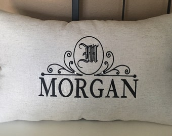 Personalized pillow with monogram and last name. Monogramed accent pullow personalized with ladt name. Est. date can be added-gift