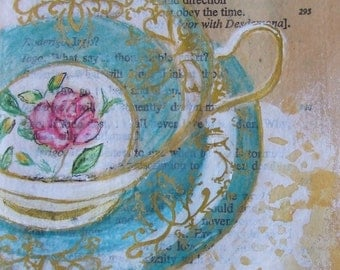 Original Watercolour - Teacup watercolour - watercolor - aqua teacup watercolour - mixed media - small watercolour - watercolor