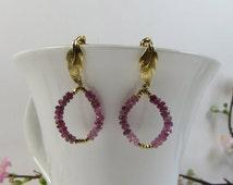 Summer Sale Pink Tourmaline Hoops Earrings, Pink Tourmaline Gemstones w Vermeil Earrings, Pink Tourmaline Leaf Earrings, Post Earrings, Hoop
