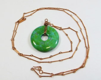 Chrysocolla and Copper Necklace, Long Chrysocolla Donut Copper Wirework Necklace, Green Gemstone Pendant & Copper Wirewrapped Necklace