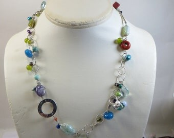 Gem Joy Necklace OOAK Asymmetric Artist Made Necklace Silver, Coral, Pearls, Turquoise, Lapis, Amethyst, MOP, Jade, Aquamarine and Much More