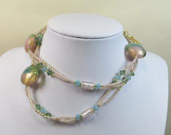 Murano and Lampwork Necklace, Peach and Soft Green Shalimar Necklace - Lampwork and Murano Glass, Vermeil, Swarovski, Handmade Necklace