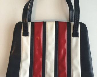 1960s Red, White and Blue Vinyl Purse