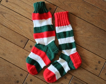 Vintage Pair of Stockings / Traditional Red, Green, and White Striped / Handmade Crocheted / Holiday Christmas Home Decor