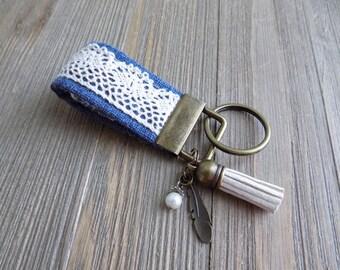 Key fob with boho lace and feather charms,  boho key chain, mini key fob, fabric key chain