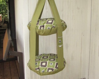 Cat Bed Olive Green & Geometric Modern Square Double Hanging Cat Bed, Kitty Cloud, Pet Furniture, Gift