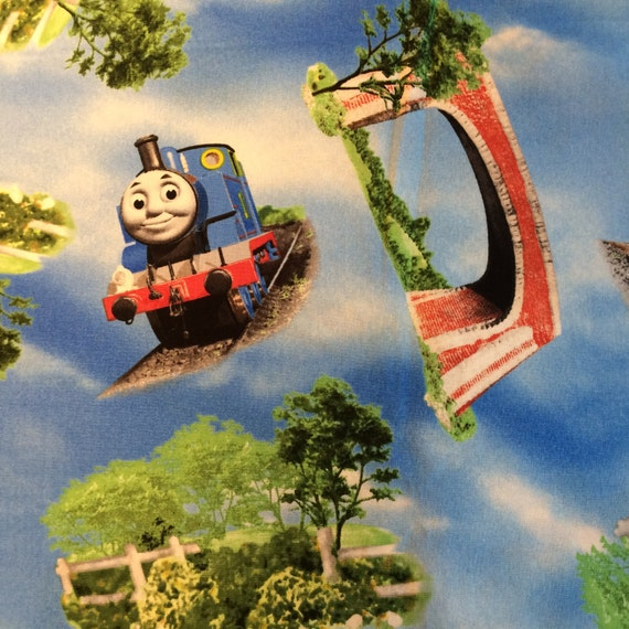 Items similar to fabric thomas the train by the 1 yard for Train fabric by the yard