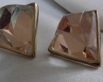 Unique abstract modernist glass crystal dimensional geometric stud earrings