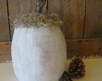 White Pumpkin Tall Primitve w Twig Halloween