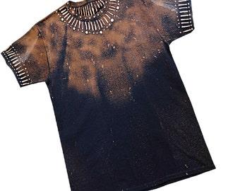 T shirt Medium Black and Brown Tribal Style, ComFeeTee handpainted T-shirt, Art Tshirt, Medium black T-shirt