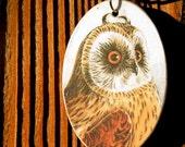 Short Eared Owl Wooden Pendant
