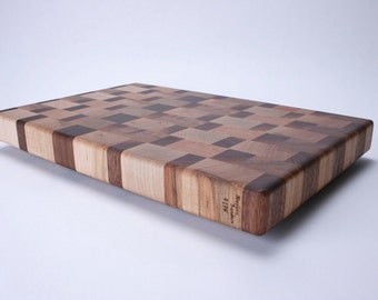 Maple and Walnut End Grain Cutting Board #175