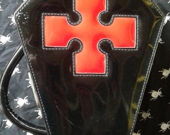 90s Vintage GOTH black vinyl handbag
