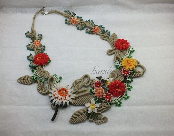 Turkish Needle Lace-Macrame-Bohemian-Gift-Needle Lace-floral needlework-Christmas needle lace-Christmas Macrame NacklaceFree shipping