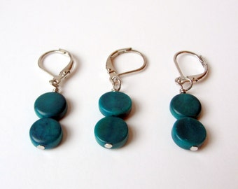 Stitch Markers for Knitting Crochet Stitch Markers removable stitch markers silver tone and turquoise ceramicl stitch markers