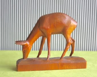 Vintage Wooden Handcarved Deer Figurine