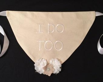 Dog Wedding Bandana, fancy pet bandana,  embroidered wedding collar bandana, wedding accessory, wedding collar bandana,