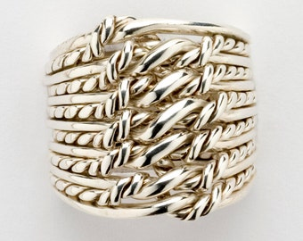 Ladies 13TW6X - 13 Band Puzzle Ring With Twisted Wire