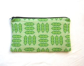 Happy Peas in a Pod Fabric Zipper Pouch / Pencil Case / Make Up Bag