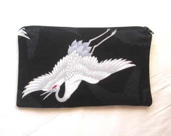 Crane Fabric Zipper Pouch / Pencil Case / Make Up Bag / Gadget Pouch